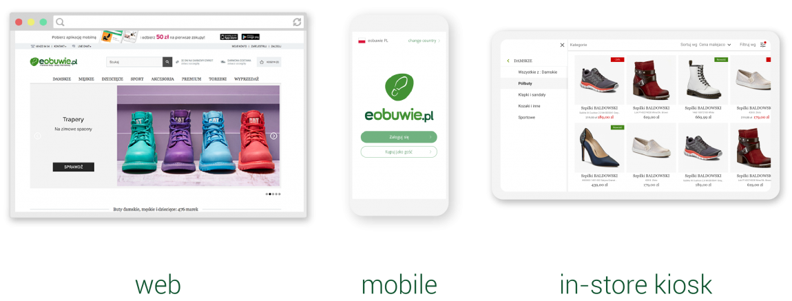 eobuwie unified commerce web mobile kiosk app